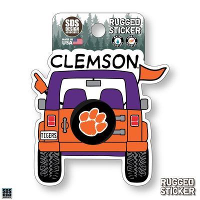 Clemson Seasons Design Cartoon Jeep 3.25