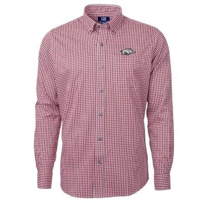 Arkansas Cutter & Buck Big & Tall Versatech Multi Check Dress Shirt