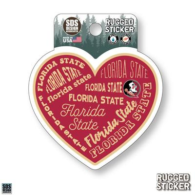 Florida State Seasons Design Heart 3.25