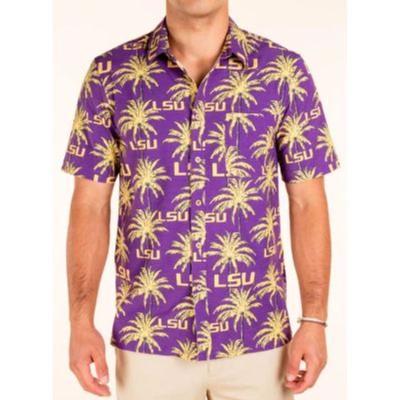 LSU Tellum And Chop Palm Print Hawaiian Shirt