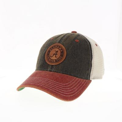 Alabama Legacy Leather Circle Patch Trucker Hat