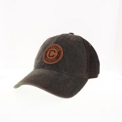 Clemson Legacy Vault Leather Circle Patch Trucker Hat