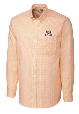 LSU Cutter & Buck Big & Tall Tattersall Dress Shirt