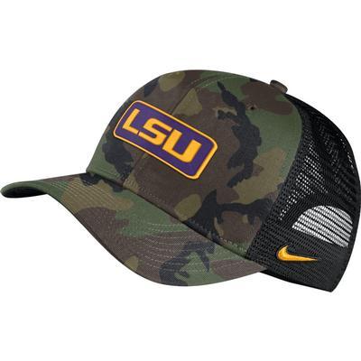 LSU Nike Vault C99 Tiger Head Logo Patch Trucker Camo Hat