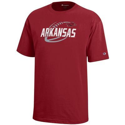 Arkansas Champion YOUTH Diagonal Football Tee