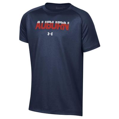 Auburn Under Armour YOUTH Striped Logo Graphic Tee