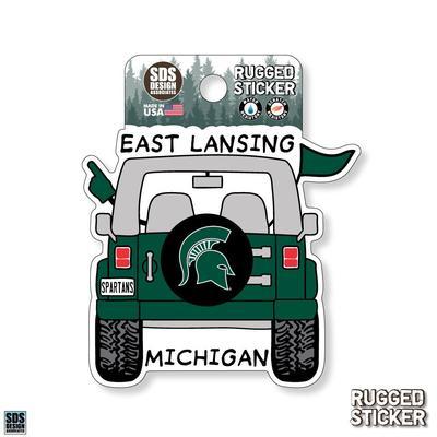 Michigan State Seasons Design Cartoon Jeep 3.25
