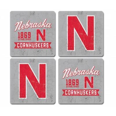Nebraska Midnight Fly 4-Pack Coasters