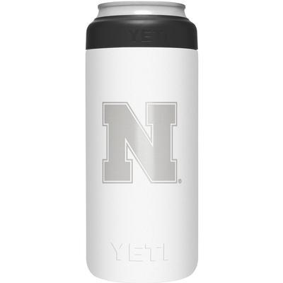 Nebraska Yeti White N Logo Slim Colster