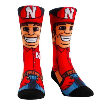Nebraska Hyperoptic Mascot Crew Sock