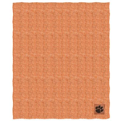 Clemson Two Tone Cable Knit Blanket