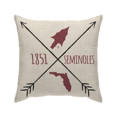 Florida State Cross Arrow Decor Pillow