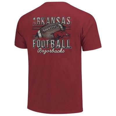Arkansas Comfort Colors Football Stripes Tee