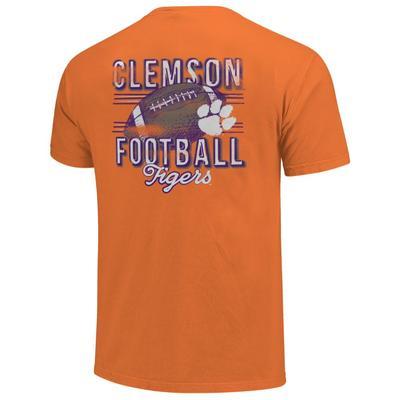 Clemson Comfort Colors Football Stripes Tee