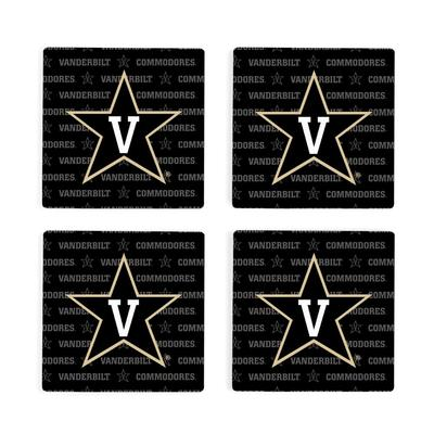 Vanderbilt 4pk Primary Repeat Logo Coaster