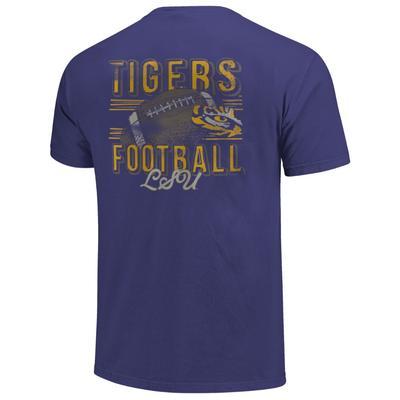 LSU Comfort Colors Football Stripes Tee