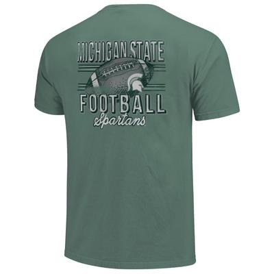 Michigan State Comfort Colors Football Stripes Tee