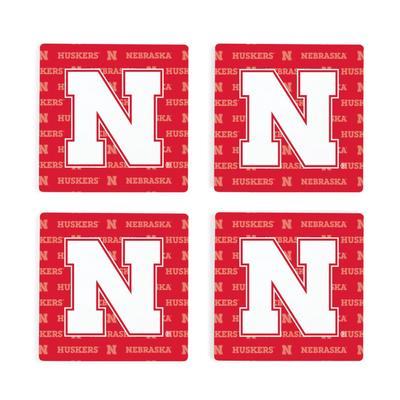 Nebraska 4pk Primary Repeat Logo Coasters