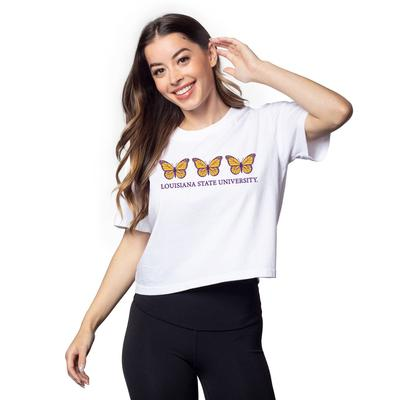 LSU Chicka-D Short and Sweet Butterfly Serif Crop Tee