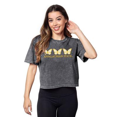 Appalachian State Chicka-D Short and Sweet Butterfly Serif Crop Tee