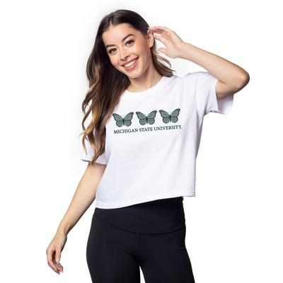 Michigan State Chicka-D Short and Sweet Butterfly Serif Crop Tee