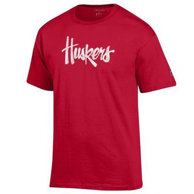 Nebraska Champion Men's Script Huskers Short Sleeve Tee