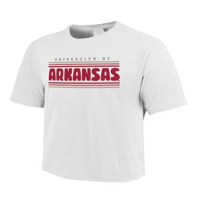 Arkansas Comfort Colors Women's Simple Stripe Crop Tee