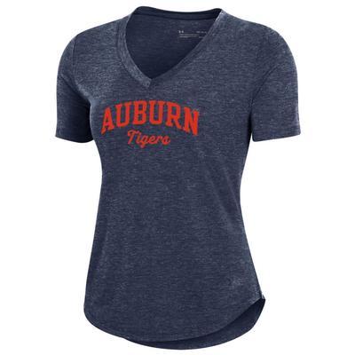Auburn Under Armour Women's Breezy V Neck Arch Tee Shirt