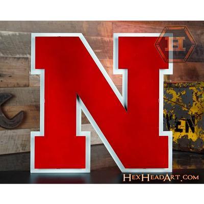 Nebraska Hex Head Metal N Wall Art 18 x 18