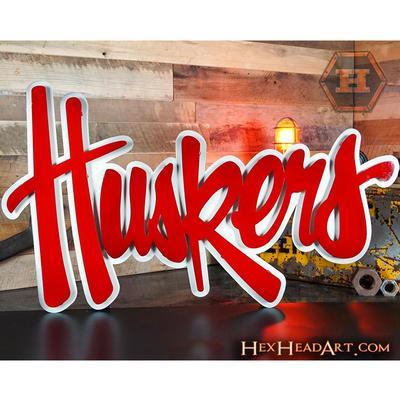 Nebraska Hex Head Metal Huskers Wall Art 24x 16