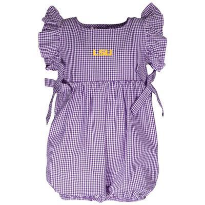 LSU Garb Infant Gingham Ruffle Sleeve Onesie