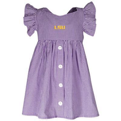 LSU Garb Toddler Gingham Ruffle Sleeve Dress