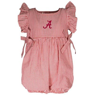 Alabama Garb Infant Gingham Ruffle Sleeve Onesie
