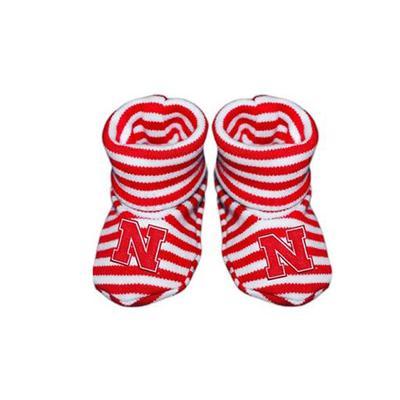 Nebraska Striped Baby Booties