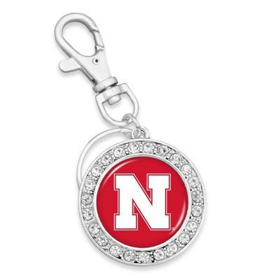 Nebraska Crystal Circle Keychain