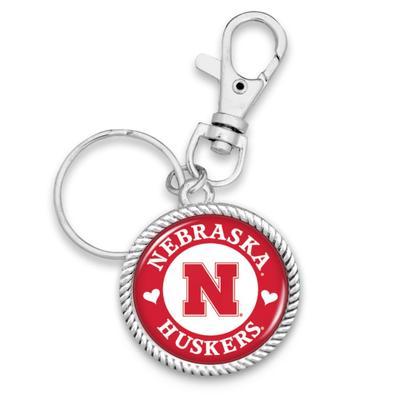 Nebraska Stuck On You Circle Keychain