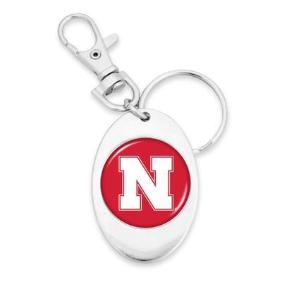 Nebraska Oval Keychain