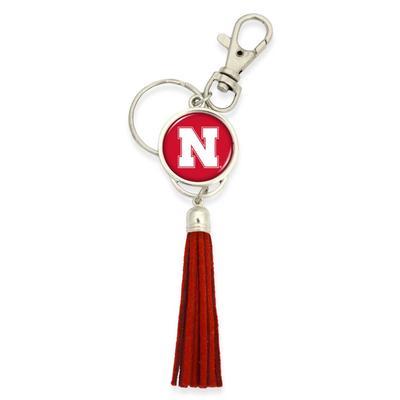 Nebraska Long Tassel Keychain