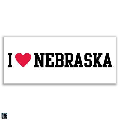 Nebraska 6 in I Love Nebraska Decal