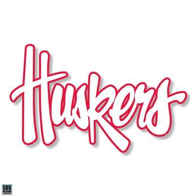 Nebraska 6 in Huskers Script Decal