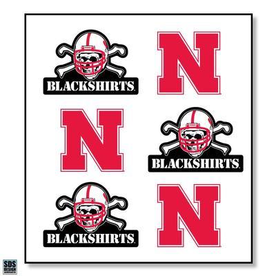 Nebraska 6 Pack N/Blackshirts Logo Sticker Sheet
