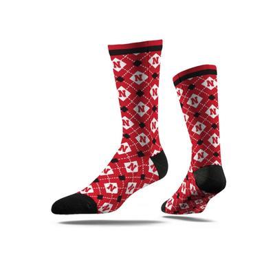 Nebraska Strideline Argyle Step Repeat Digital Sock