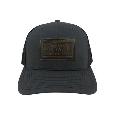 Athens Zeppro Leather Rectangle Patch Adjustable Hat - Charcoal