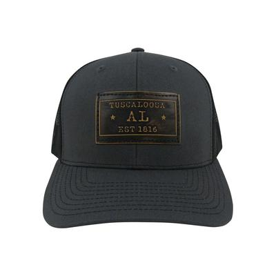 Tuscaloosa Zeppro Leather Rectangle Patch Adjustable Hat - Charcoal