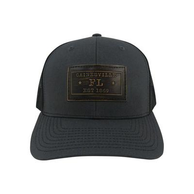 Gainesville Zeppro Leather Rectangle Patch Adjustable Hat - Charcoal