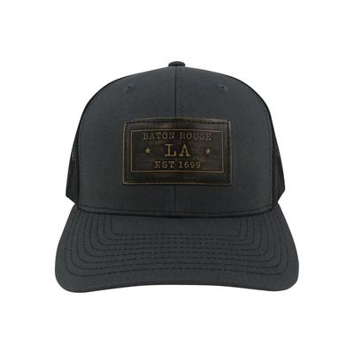 Baton Rouge Zeppro Leather Rectangle Patch Adjustable Hat - Charcoal