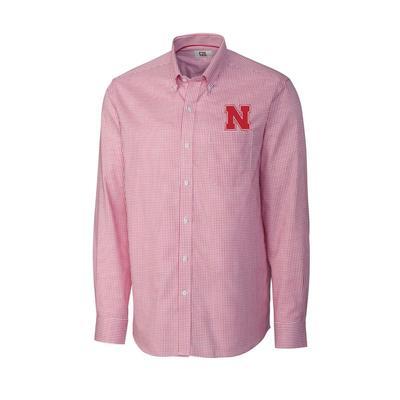 Nebraska Cutter & Buck Men's Tattersall Woven Dress Shirt