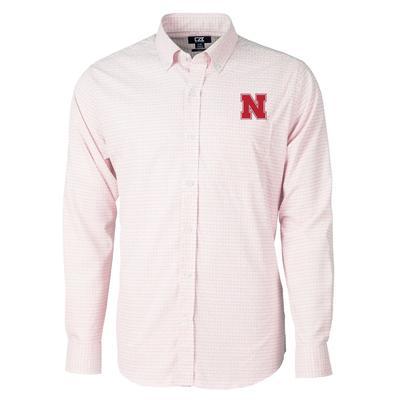 Nebraska Cutter & Buck Men's Versatech Tattersall Button Up