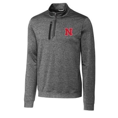 Nebraska Cutter & Buck Men's Stealth Half Zip Pullover