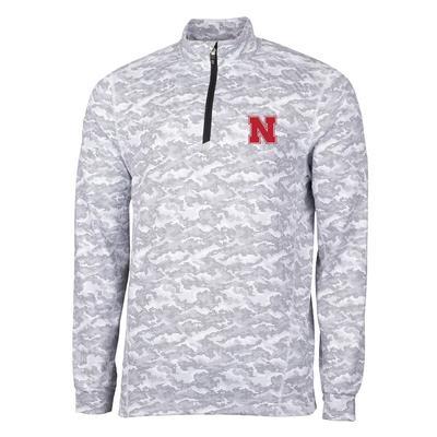 Nebraska Cutter & Buck Men's Traverse Camo Half Zip Pullover